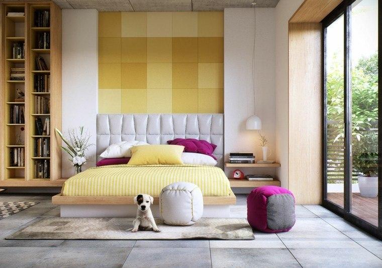 dormitorio moderno pare ropa cama amarillo ideas