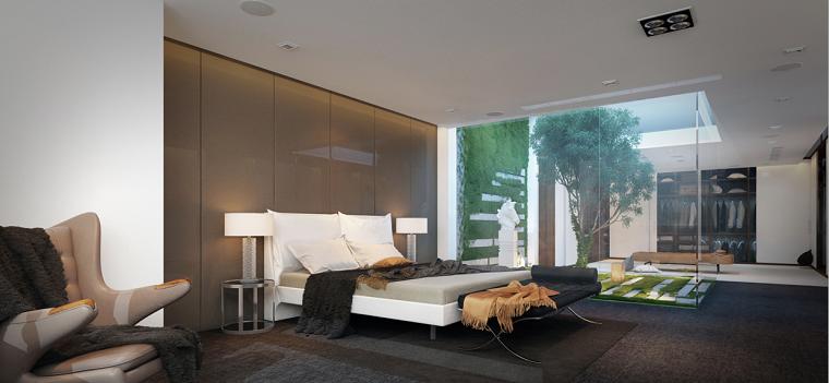 dormitorio moderno pared beige brillante jardin ideas