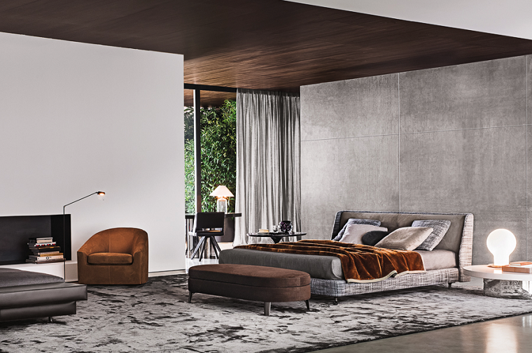 dormitorio moderno pared hormigon sillon color mostaza ideas