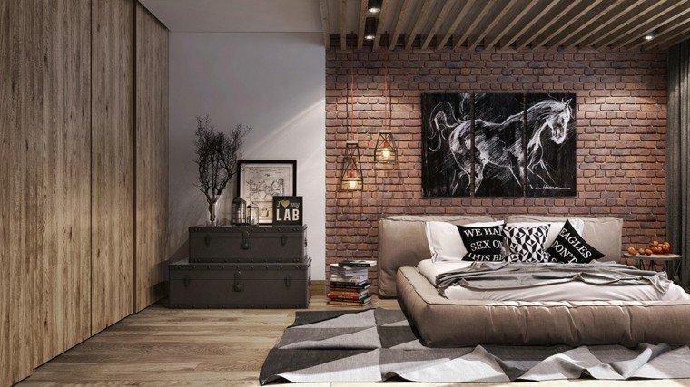 dormitorio moderno pared ladrillo cuadro decorativo ideas