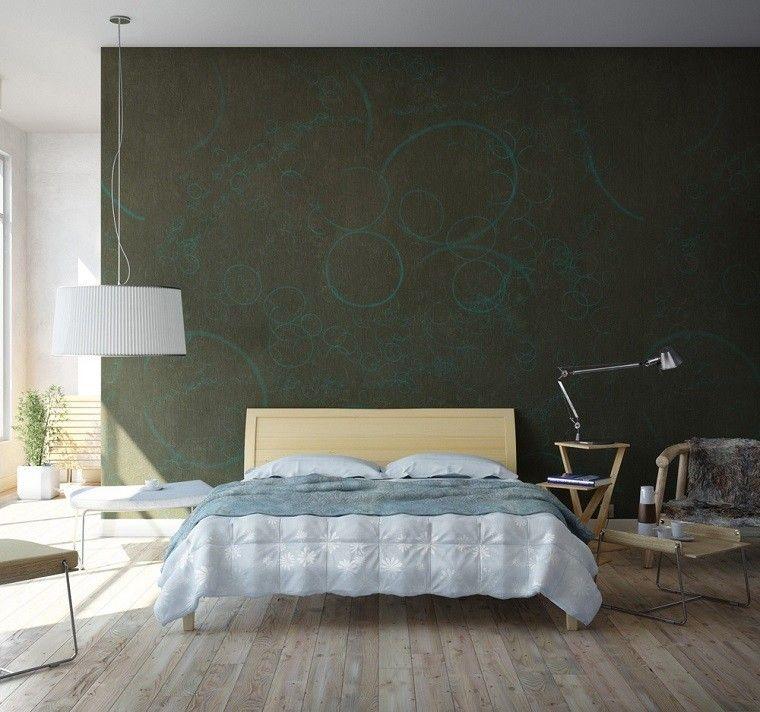 dormitorio moderno pared verde preciosa ideas