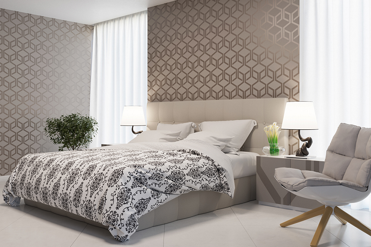 dormitorio moderno paredes preciosas planta decorativa ideas