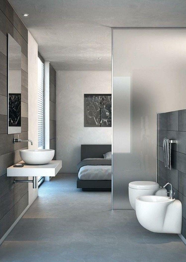 dormitorio moderno separacion baño cristal