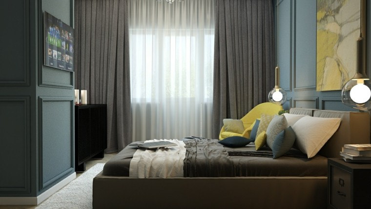 dormitorio moderno sillon cuadro amarillo ideas