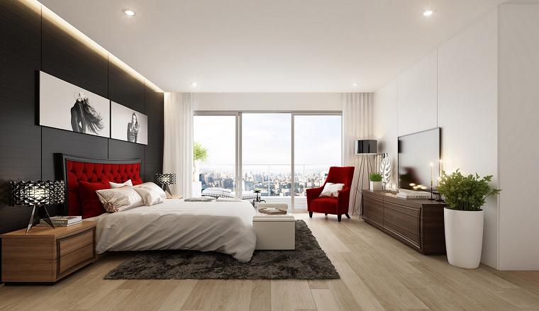 dormitorio moderno sillon respaldo cama color rojo ideas