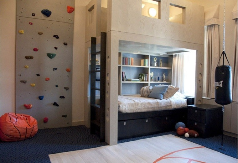dormitorio nino pared escalar cama ideas