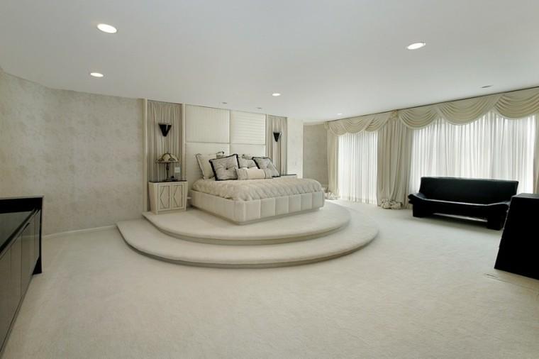 dormitorio niveles amplio cama blanca precioso ideas