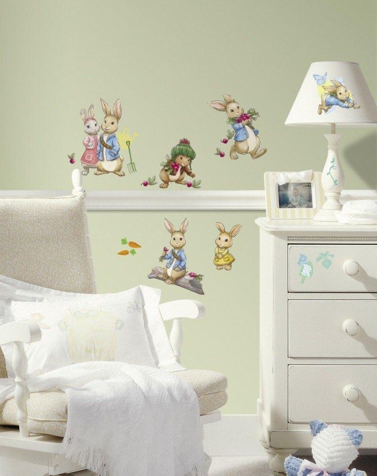 dormitorio pared verde papel conejos