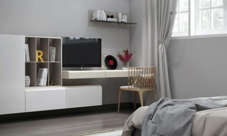 dormitorio paredes gris claro muebles blancos ideas