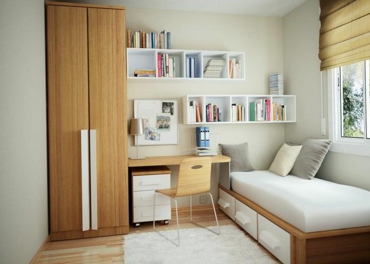 dormitorio pequeño diseño blanco madera