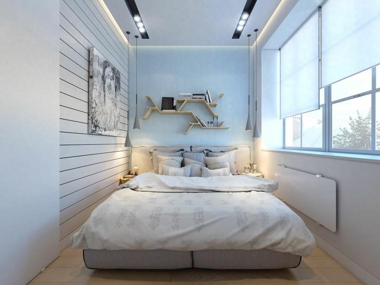 dormitorio pequeno cuadro estanterias pared madera ideas