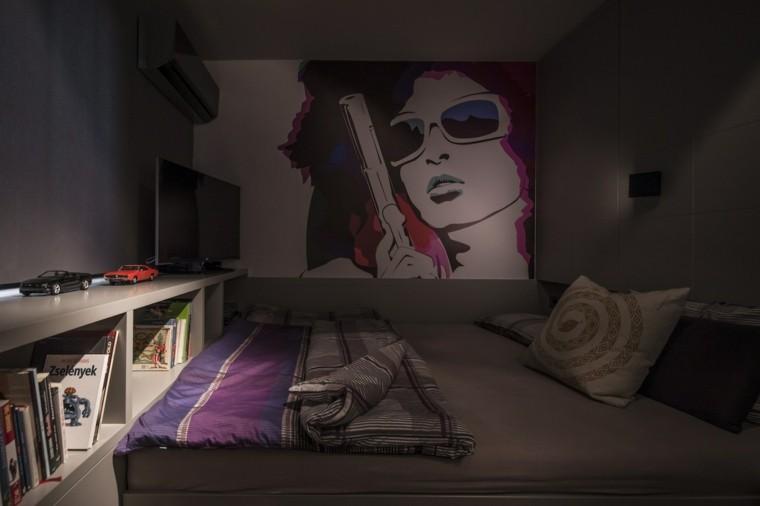 dormitorio pequeno oscuro cuadro grande pared ideas