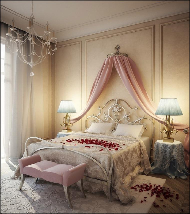 dormitorio romantico dosel rosa taburete ideas