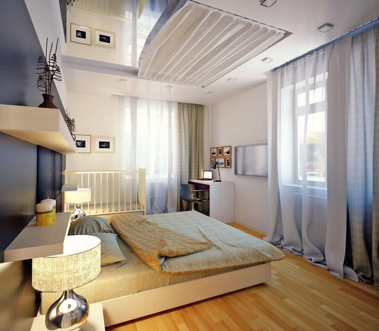 dormitorio romantico espejo techo pared azul ideas