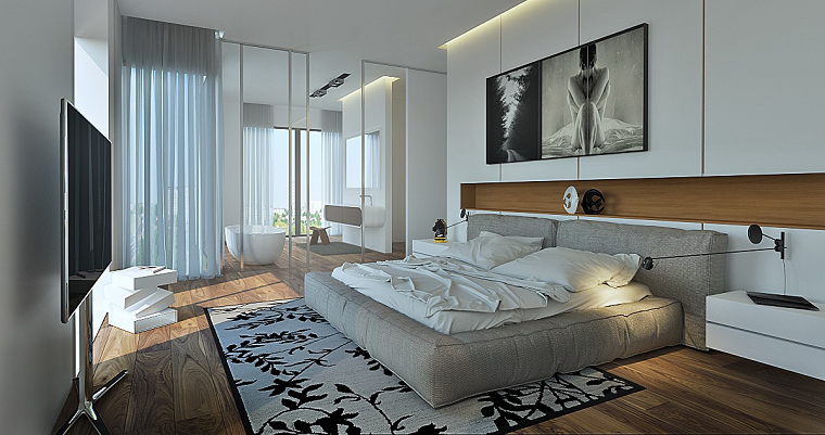 Baño Romantico Ideas:mámparas de cristal transparente separan elbaño del dormitorio