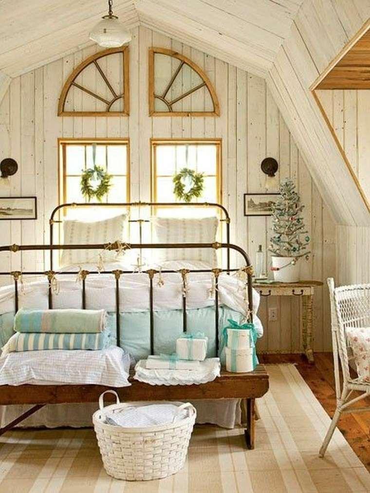 decoracion dormitorio vintage cesto blanco