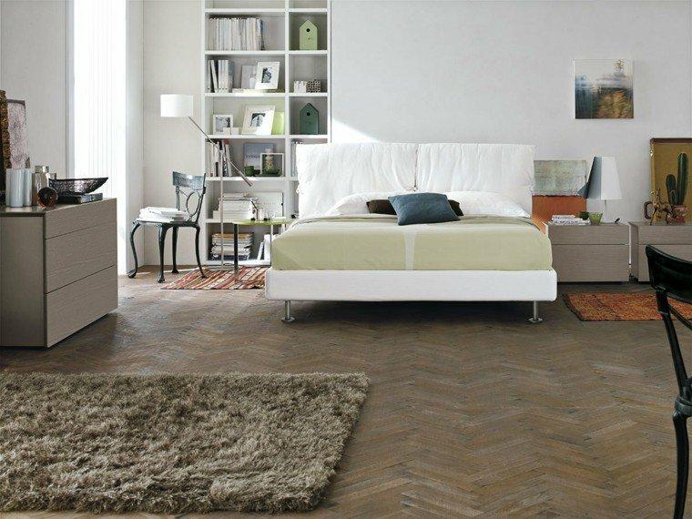 dormitorios matrimonio modernos cama blanca estanterias ideas