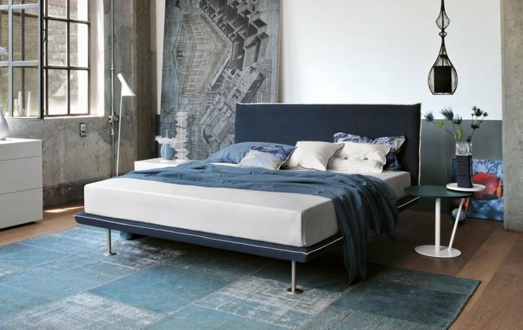 dormitorios-matrimonio modernos cama respaldo azul ideas