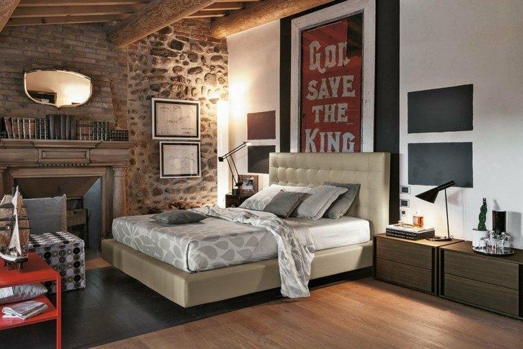 dormitorios matrimonio modernos chimenea pared piedra ideas