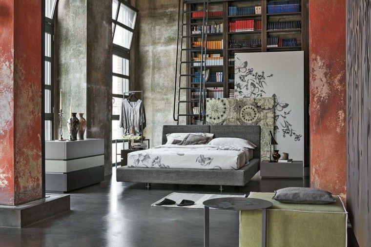 dormitorios matrimonio modernos estilo industrial taburete mesa