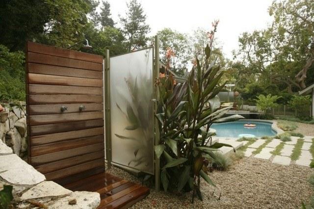 ducha madera teca jardin