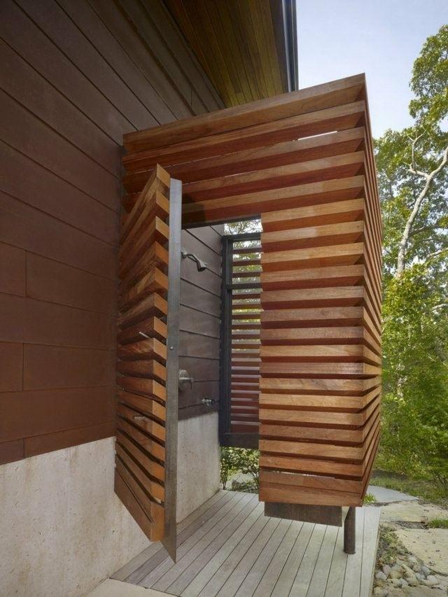cabina ducha moderna madera teca
