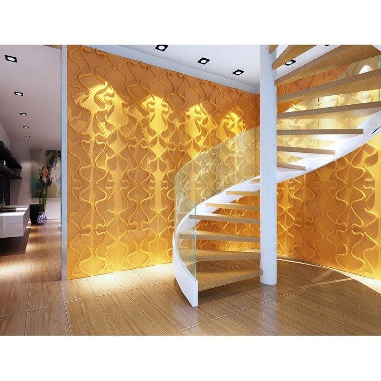 elegante amarilla pared escalera caracol