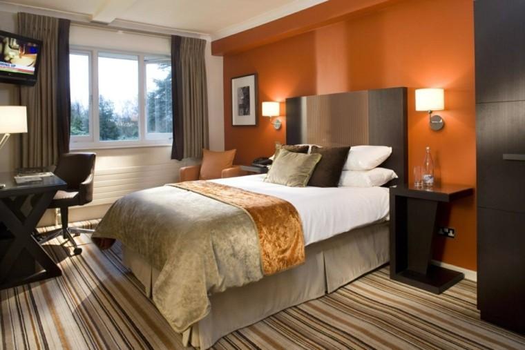 elegante atractiva rayas naranja lamparas