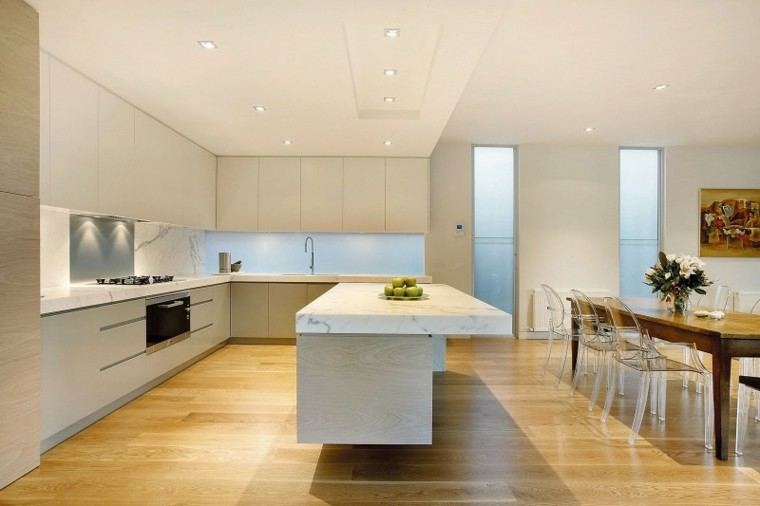 elegante moderna cocina madera marmol