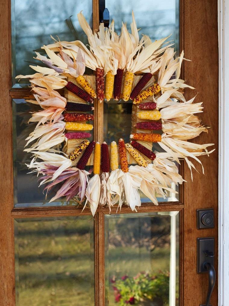 entrada casa decorada otono maiz ideas