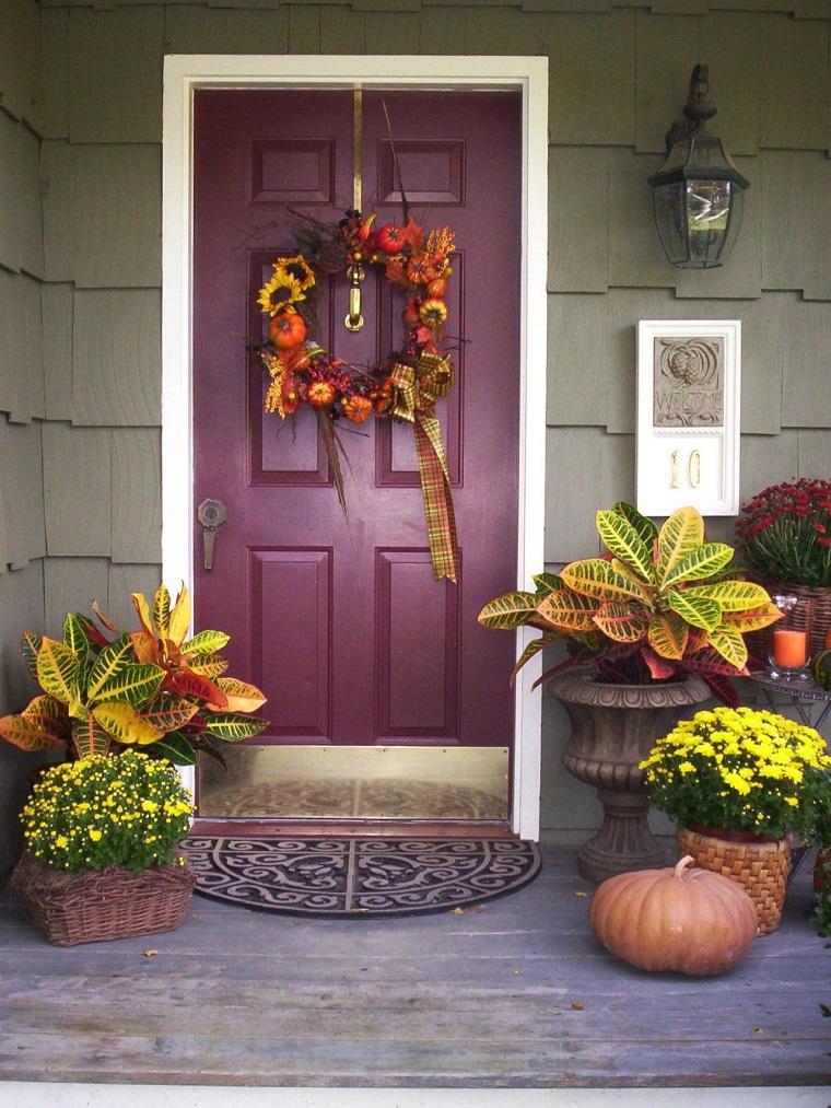 entrada decorada plantas guirnalda otono ideas