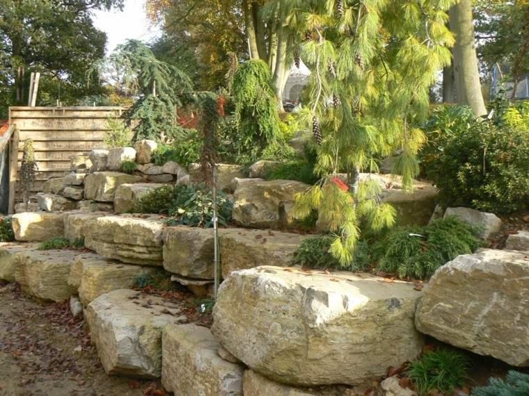 escaladas jardines rocas conos escalonado
