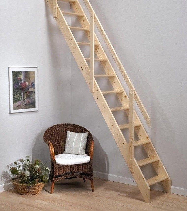 escalera madera natural estilo minimalista
