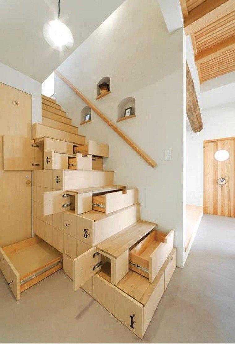 escaleras madera mueble cajones funcionales