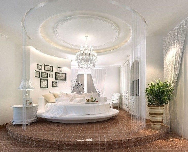 escapada romántica cama redonda lampara preciosa  ideas