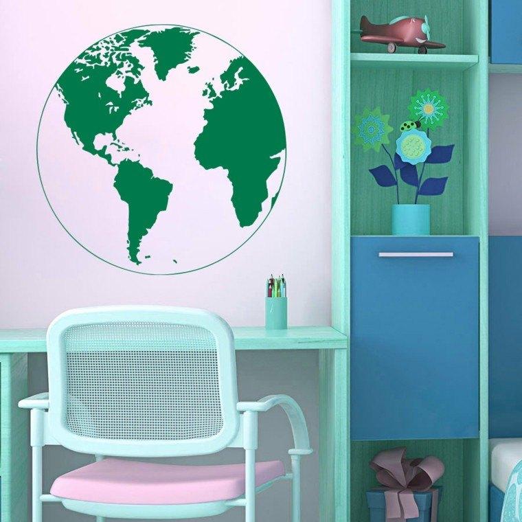 escritorio-habitacion-nina-colores-llamativos-globo-pared