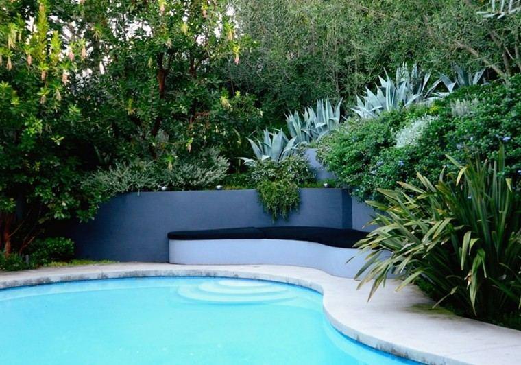 espacio agua jardines arboles piscina