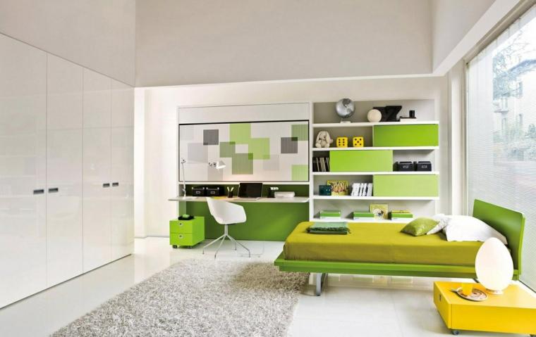 espacio conejo cama minimalista verde