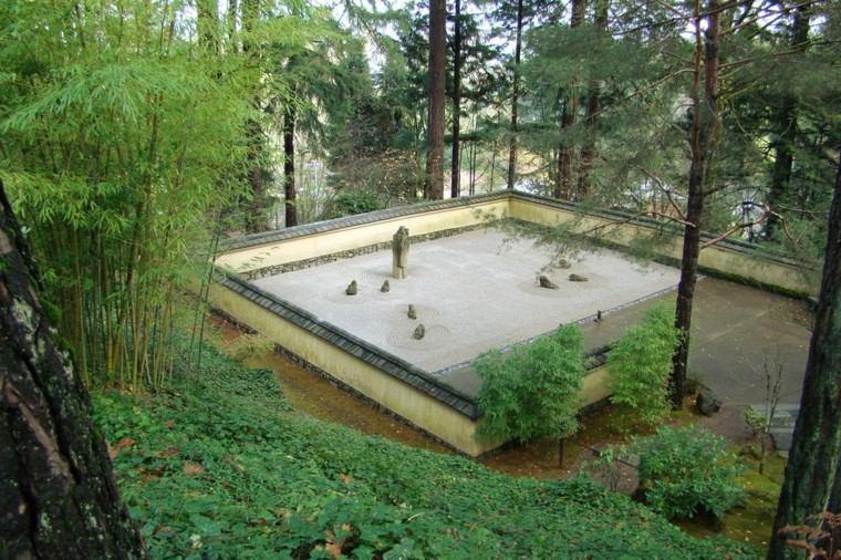 espacio grande arena estilo zen piedras ideas