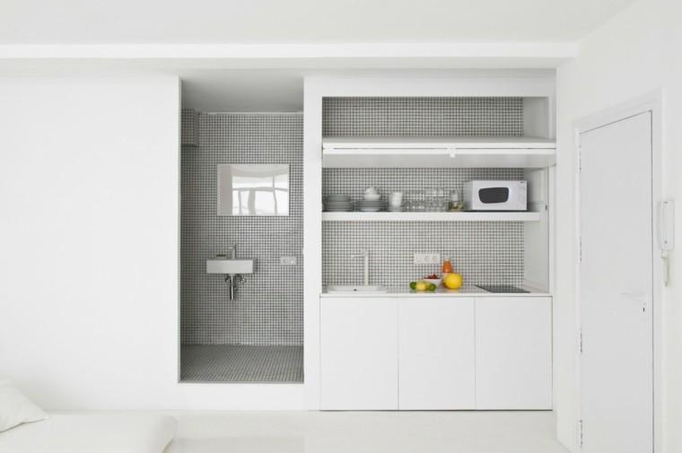 espacio en blanco cocina minimalista apartamento pequeno ideas