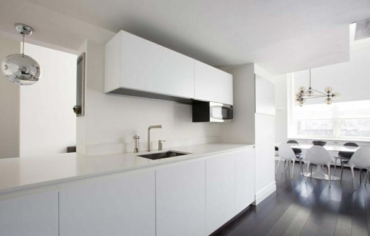 espacio en blanco cocina minimalista armarios blancos ideas