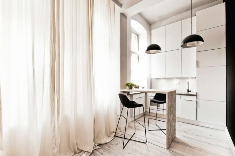 espacio en blanco cocina minimalista barra madera ideas