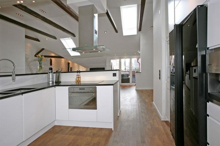 espacio en blanco cocina minimalista encimera negra ideas