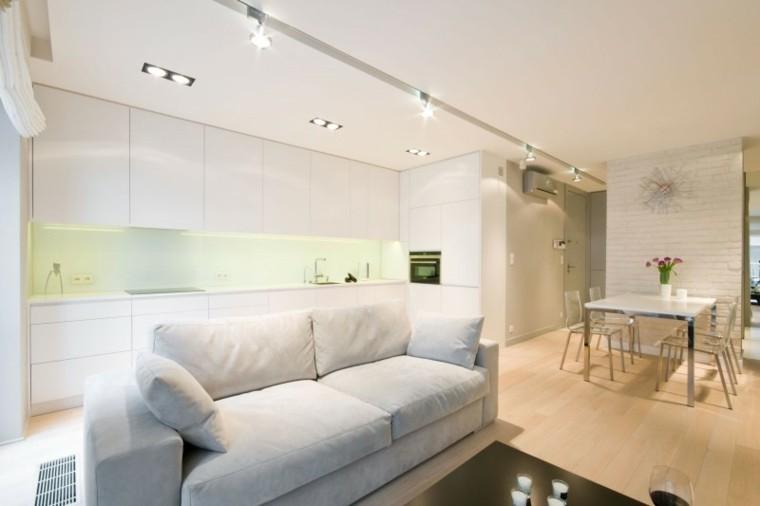 espacios en blanco cocina minimalista iluminacion LED ideas
