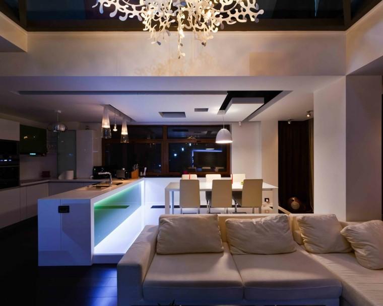 espacio en blanco cocina minimalista iluminacion verde ideas