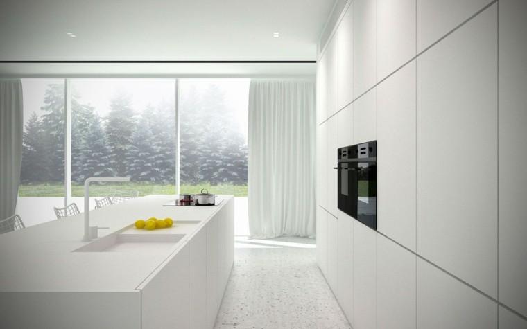 espacio en blanco cocina minimalista isla armarios ideas