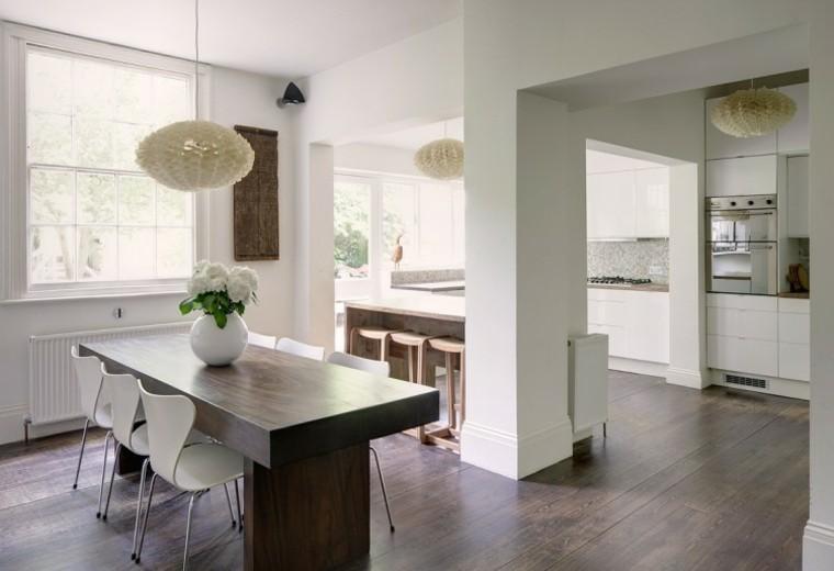 espacio en blanco cocina minimalista mesa comidas madera ideas