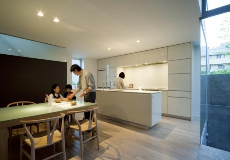 espacio en blanco cocina minimalista mesa comidas ideas