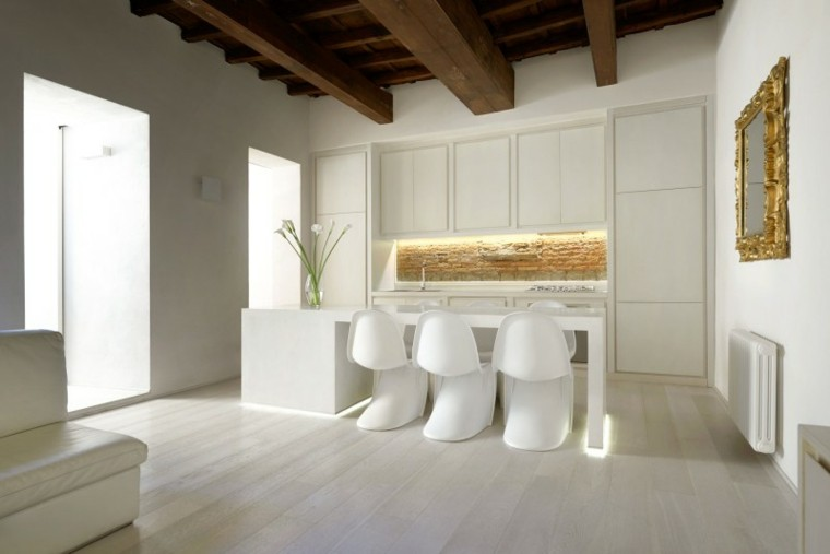 espacio en blanco cocina minimalista pared ladrillo ideas
