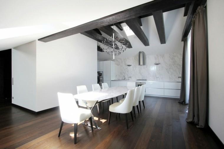 espacio en blanco cocina minimalista pared marmol blanco ideas